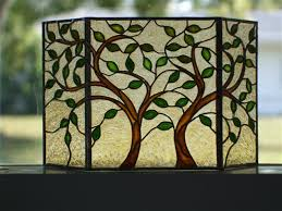 stained glass fireplace screen leaves trees stained glass