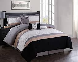 Black And Beige Comforter Sets Modern Bedding Sets Queen Amazon Com