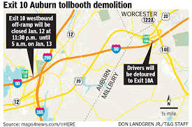 Mass Pike Exits Map Exit 10 On Mass Pike West In Auburn To Be Closed Thursday Night