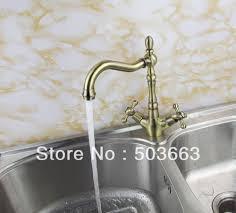 Antique Brass Kitchen Faucet Wholesale 2 Handle Kitchen Swivel Sink Faucet Mixer Tap Vanity
