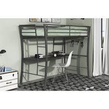 Bedside Shelf Dorm Bed With Desk Twin Gunmetal Grey Metal Student Dorm Home Furniture New