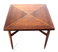 expandable game table walnut top with brass inlay mid century modern expandable game