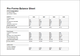 Pro Forma Balance Sheet Template Proforma Balance Sheet Template For Excel Excel Templates