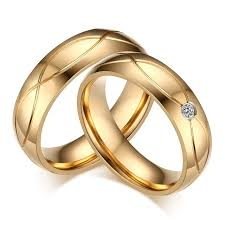 wedding rings cross images Stainless steel gold color wedding ring cross couple rings with jpg