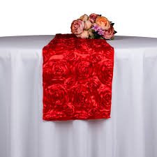 red and white table runner 10pcs wholesale rose embroidered table runner decoration hotel