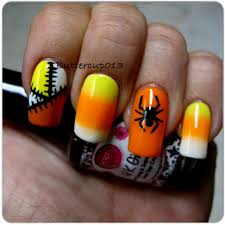 halloween nail art candy corn gradient nails freehand patch