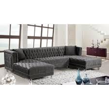 Grey Velvet Sectional Sofa Grey Velvet Sectional Sofas You Ll Wayfair