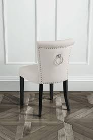 chaise m tallique chaise de salle à manger positano avec anneau métallique au dos crème