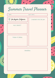 coral fruit pattern travel itinerary planner templates by canva