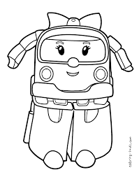 robocar poli coloring pages amber for kids printable free