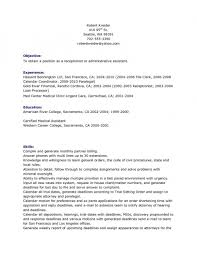 Sample Of A Receptionist Resume by Sample Of Secretary Resume Emergency Room Social Worker Sample