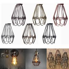 industrial cage light bulb cover retro vintage industrial pendant light bulb guard wire cage hanging