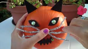 how to decorate a pumpkin as a cat youtube