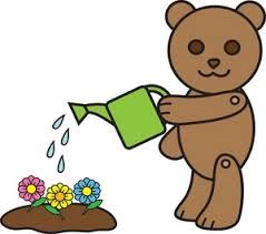 flowers clipart image little bear watering flowers in a flower