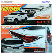 suv toyota 2017 fitte chrome head tail lamp light cover trim fit toyota fortuner