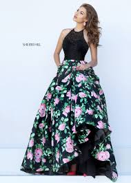sherri hill style 50425 black pink two tone floral print formal