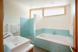 1940s bathroom design rectangle interior white corner bathtub on the blue tile base
