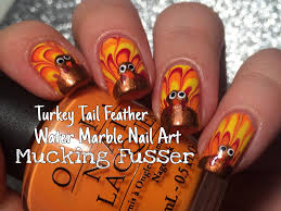 art for thanksgiving thanksgiving nail art tutorial water marbled turkey tail feathers