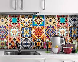 mexican tiles for kitchen backsplash tile decal etsy