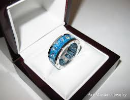 mens infinity wedding band mens modern 10k white gold blue topaz channel cluster infinity