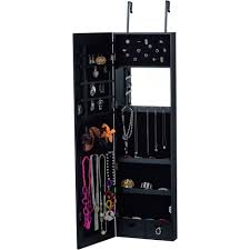 Black Armoire Innerspace Wall Hang Deluxe Mirror Jewelry Armoire Walmart Com