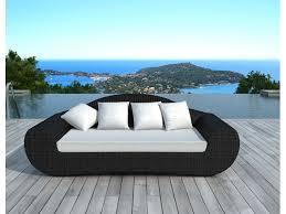canape resine exterieur canapé de jardin en résine tressée 195x93x80cm possibilité de