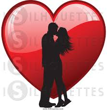 dinner silhouette clipart of a silhouetted couple kissing over a red heart by kj