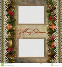 christmas decorations with lace and frames on vint royalty free