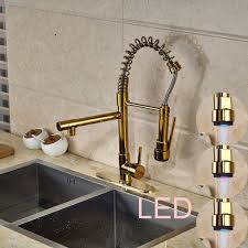 compare prices on colorful kitchen faucet online shopping buy low led color changing golden kitchen faucet w cover plate vessel sink mixer tap china