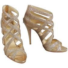 christian louboutin balota gold glitter gladiator sandal heels at