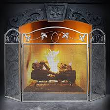 Fireplace Metal Screen by Amazon Com Amagabeli 3 Panel Pewter Wrought Iron Fireplace Screen