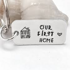 new home gift hand stamped keyring our first home housewarming