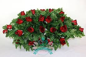 Flowers For Funeral Beautiful Classic Red Roses Cemetery Tombstone Saddle Arrangement