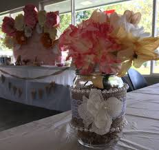 baby shower big paper flower backdrop candy table vintage theme