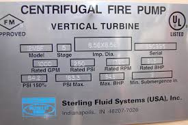 peerless vertical turbine centrifugal fire pump 1000gpm 5 stage