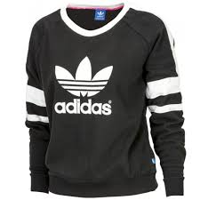 adidas originals trefoil sweatshirt black white jumper top sz 10