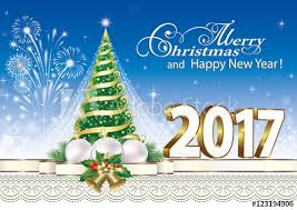 merry and happy new year 2017 with tree buy