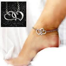 ankle bracelet images Sexy women jewelry double heart chain beach sandal anklet ankle jpg