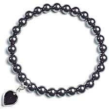 black pearl charm bracelet images Swarovski black pearl love heart charm bracelet rose co png