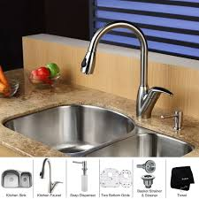 kitchen faucet and sink combo faucet kbu23 kpf2120 sd20 in stainless steel by kraus
