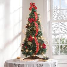 pull up fully decorated pre lit poinsettia tree kimball