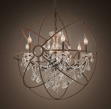 Sphere Chandelier With Crystals Beautiful Mix Of Contemporary Traditional In This Light Fixture