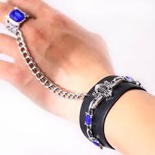 black leather crystal bracelet images 2016 cosplay black butler leather blue crystal bracelet men jpg