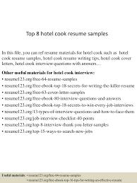 Hotel Job Resume Sample by Top8hotelcookresumesamples 150529082927 Lva1 App6892 Thumbnail 4 Jpg Cb U003d1432888210