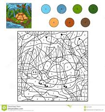 color by number turtle stock vector image of area learning