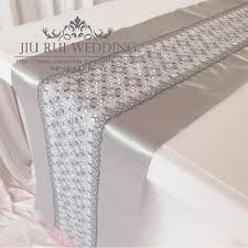 lace table runners wholesale fashion double layers silver satin and lace table runner for party