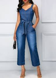 s one jumpsuit high waist open back pocket blue jumpsuit