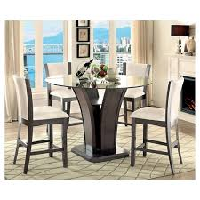 round counter height table set iohomes 5pc beveled glass round counter height table set gray target