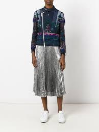 winter biker jacket sacai tribal lace embroidered biker jacket 041 women clothing