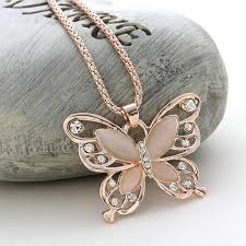 long chain crystal necklace images Rose gold acrylic crystal 4cm big butterfly pendant necklace 70cm jpg
